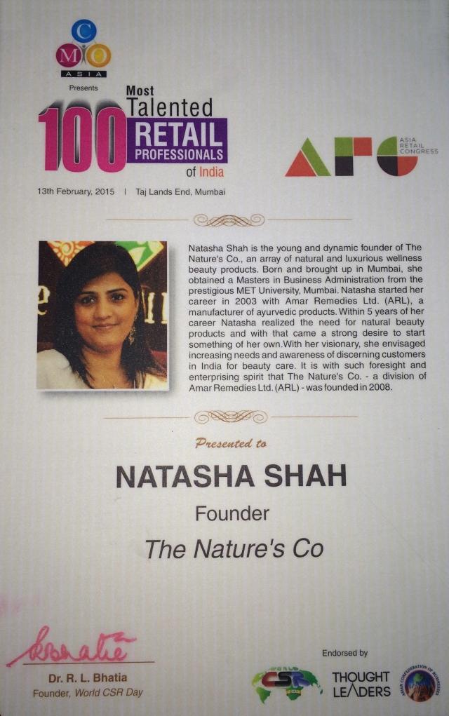 Natasha Shah - 100 Most Talented Retailer Award