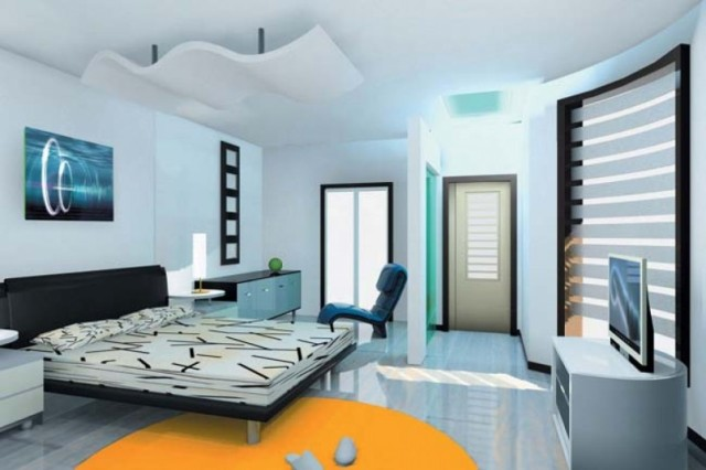 amazing-Interior-Design-For-Bedrooms_Interior-Design_Bedroom-Design-Decorating_white-ceramic-flooring_white-wall-color_lcd-tv_yellow-carpet_side-table_motive-bed_tv-cabinet_chest-of-drawer-805x537